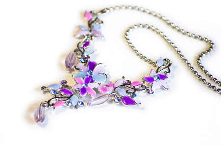 Colored necklace, silver, flower, fashion Stock Photo - 3330910