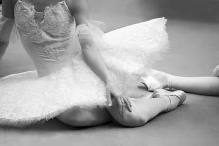 performance art: Ballet-dancer with white dress,  elegance woman