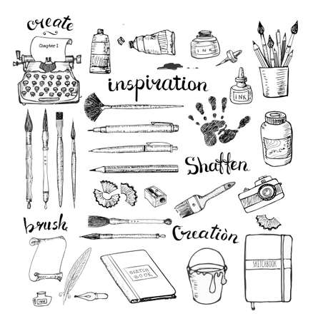 writers: Sketches of artists and writers tools hand drawn with ink