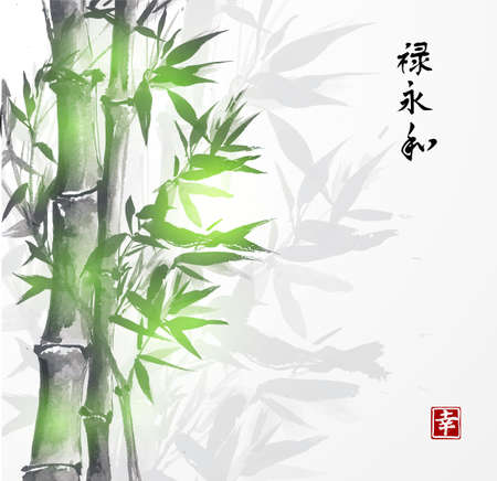 Card with green bamboo in sumi-e style. Hand-drawn with ink. Contains hieroglyphs happiness, well-being, eternity, harmony Stock Illustratie