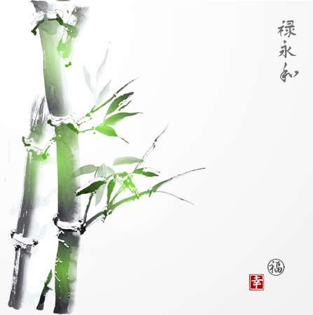 Kaart met groene bamboe in sumi-e stijl. Hand-getekend met inkt. De traditionele Japanse schilderkunst. Bevat hiërogliefen geluk en succes