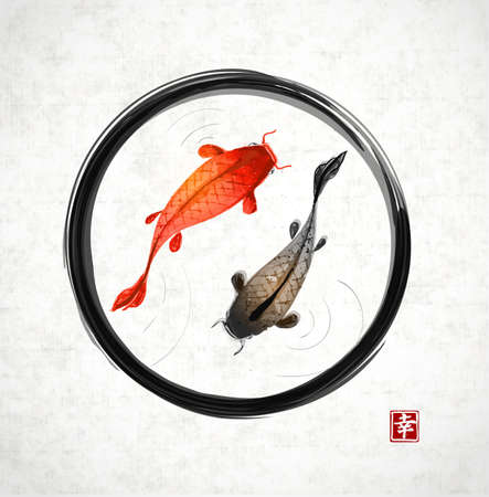 Black enso zen circle with red and black fishes hand drawn in traditional Japanese painting style sumi-e.