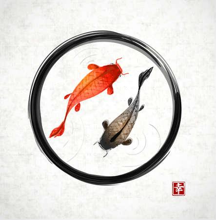 Negro círculo del zen enso con peces rojos y negros dibujados a mano en el tradicional estilo de pintura sumi-e japonés.