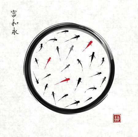enso: Black enso zen circle with red and black fishes hand drawn in traditional Japanese painting style sumi-e.