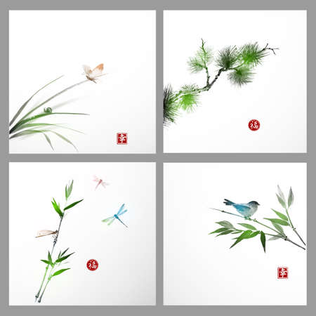 painting style: Backgrounds with pine tree, bird, butterfly hand-drawn in traditional Japanese style sumi-e.Sealed with hieroglyphs - luck, happiness