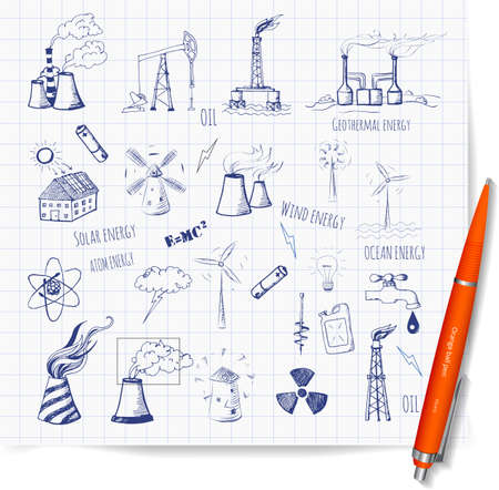 wind turbines: Sketches of oil rigs, oil platforms, thermal energy station and other sources of energy