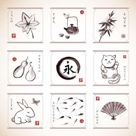marple: Collection of elements hand-drawn with ink in traditional Japanese style sumie. Bamboo, maneki neko. fishes, rabbit etc. Sealed with hieroglyphs luck, happiness and eternity. Illustration