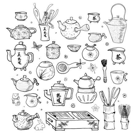 Eastern tea sketchy ceremony objects. Contains hieroglyphs tea, tea ceremony