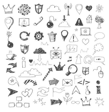 web element: Sketch of web design icons hand drawn with pen.