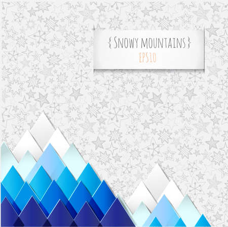 winter stylized: Background with stylized image of  winter mountains and snowflakes. Illustration