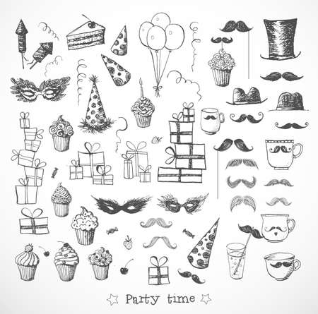 party balloons: Set of sketch party objects hand-drawn with ink. Isolated on white.
