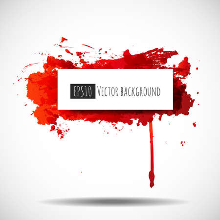 grungy header: Red grunge splash with place for your text. Illustration