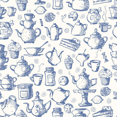 afternoon fancy cake: tea-blue3Seamless tea background with cakes, teapots, cups, jam, lemons and candies. Can be used for wallpaper, pattern fills, textile, web page background, surface textures.