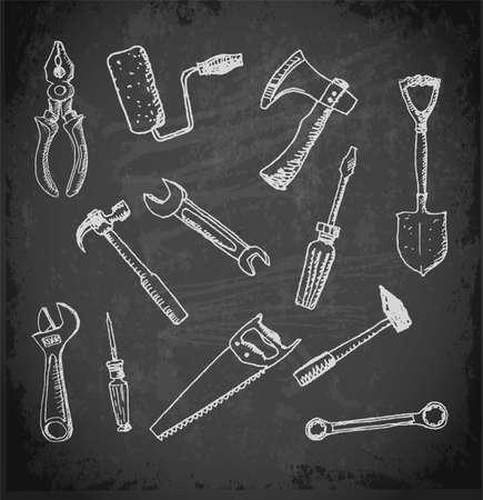 nipper: Working tools icon set. on blackboard sketch illustration.