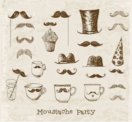 sketchy illustration: Mustache party objects. Cups with mustaches, Sketchy illustration.