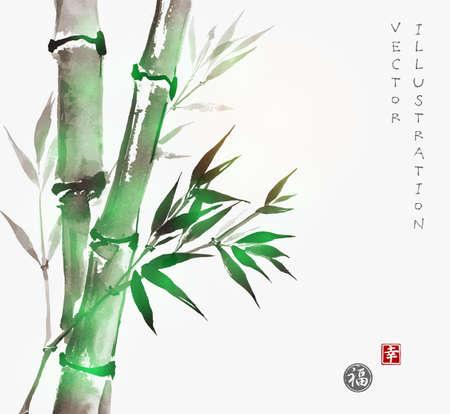 Kaart met groene bamboe in sumi-e stijl. Hand-getekend met inkt. De traditionele Japanse schilderkunst. Verzegeld met hiërogliefen - geluk en geluk