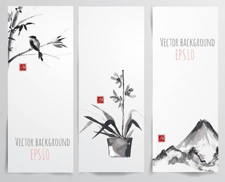Banderas con el bambú, orquídeas y aves en el estilo del sumi-e. pintura japonesa tradicional. Dibujado a mano con tinta. Sellada con el jeroglífico - alegría Ilustración de vector