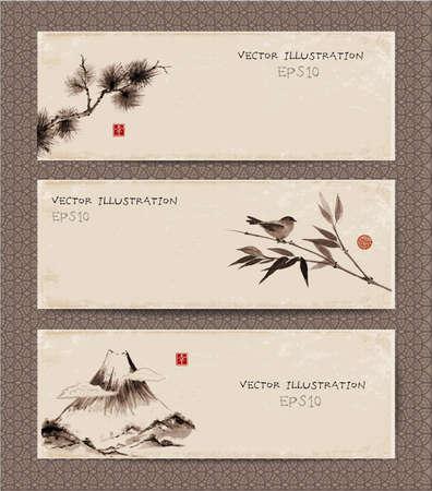 Reeks uitstekende banners met Fuji-berg, vogel, bamboetak, de tak van de pijnboomboom hand-drawn in traditionele Japanse stijl sumi-e. Met de hand getekend met inkt. Bevat hiëroglief - geluk.