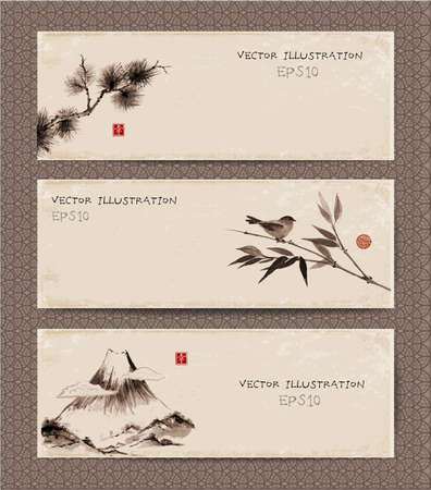 Set of vintage banners  with Fuji mountain, bird, bamboo branch, pine tree branch  hand-drawn in traditional Japanese style sumi-e. Hand-drawn with ink.  Contains hieroglyph - happiness. Ilustração