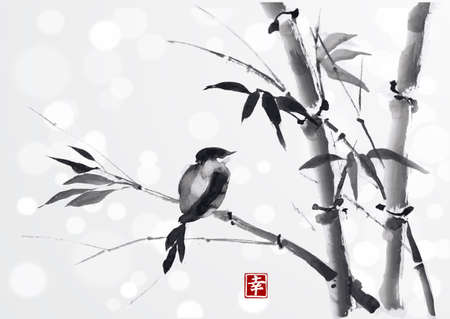 Card with bamboo and bird on white background in semi-e style. Hand-drawn with ink. Traditional Japanese painting Contains hieroglyph - happiness.