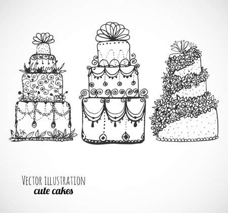 cupcakes isolated: Sketches of cakes and cupcakes isolated on white.
