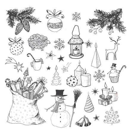 velas de navidad: Conjunto de elementos de la Navidad incompletos dibujados a mano.