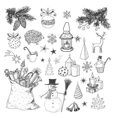 christmas candle: Set of hand-drawn sketchy Christmas elements.