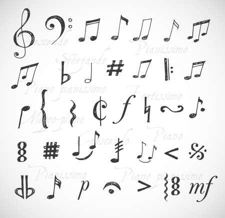 nota musical: Notas de la música y los signos dibujados a mano en estilo incompleto. Vectores