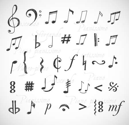 Music notes and signs hand-drawn in sketchy style.