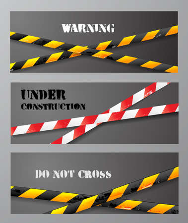 cordon: Three banners with danger tapes and place for your text.