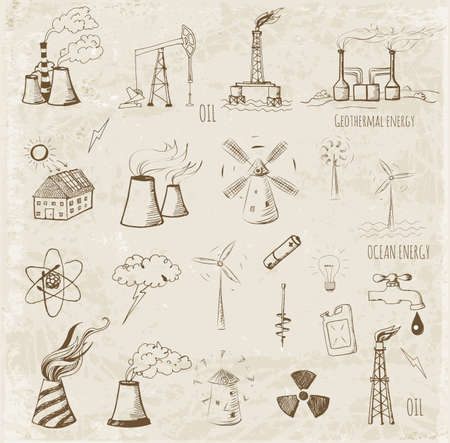 thermal power plant: Sketches of oil rigs, oil platforms, thermal energy station and other sources of energy.