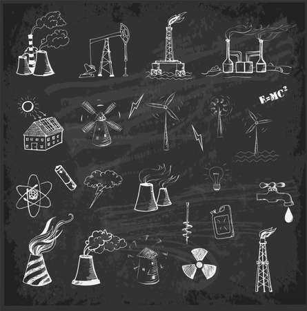 thermal power plant: Sketches of oil rigs, oil platforms, thermal energy station and other sources of energy on blackboard.
