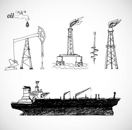 tanker ship: Sketches of oil rigs, offshore drilling platform and oil tanker ship.