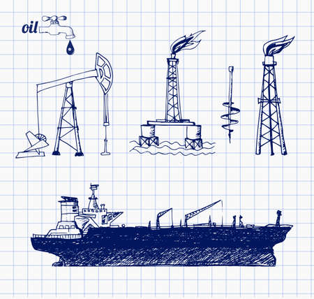 oil tanker: Sketches of oil rigs, offshore drilling platform and oil tanker ship.