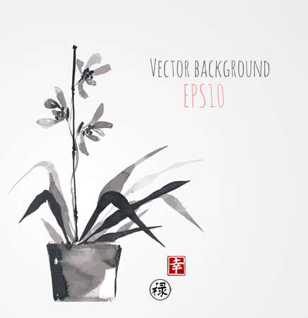 chinese calligraphy: Card with orchid on white background in sumi-e style. Hand-drawn with ink. Vector illustration. Contains hieroglyph - happiness, luck. Traditional Japanese painting
