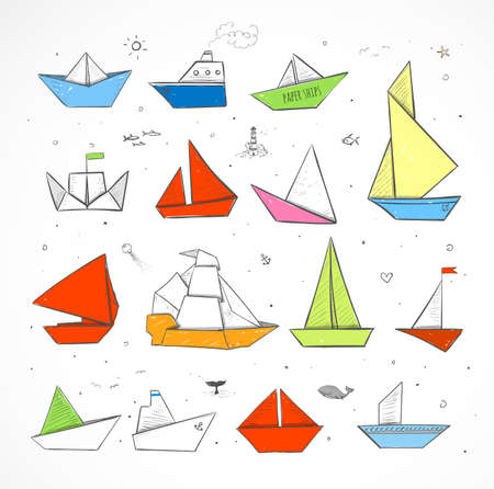 origami paper: Colored Origami paper ships sketches. Illustration