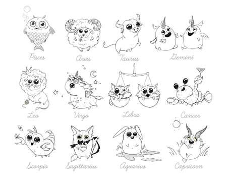 Set of 12 funny doodle zodiac icons on white background. Astrology horoscope with signs. Calendar template. Libra Scorpio Sagittarius Capricorn Aquarius Pisces. Aries Taurus Gemini Cancer Leo Virgo. Ilustrace