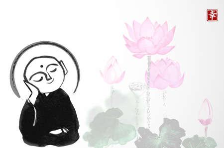 Ink painting of praying japanese boddhisattva Jizo and pink lotus flowers. Traditional Japanese ink wash painting of Buddha sumi-e. Translation of hieroglyphs - happiness Ilustrace