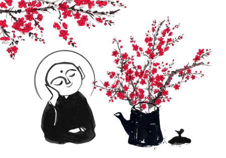 Ink painting of two praying japanese boddhisattva Jizo and sakura blossom. Traditional Japanese ink wash painting of Buddha sumi-e. Ilustrace