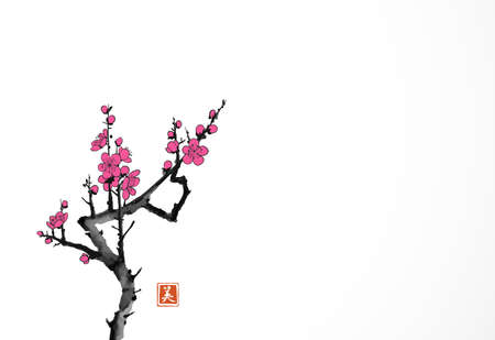 Blossoming branch of oriental sakura cherry on white background. Traditional Japanese ink wash painting sumi-e. Hieroglyph - beauty