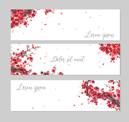 Three banners with Oriental cherry blossoming branch and falling sakura petals. Traditional oriental ink painting sumi-e, u-sin, go-hua on white background Vettoriali