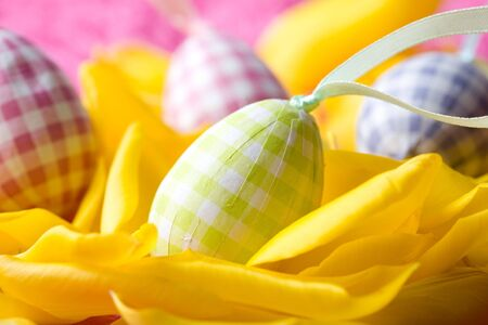 Close-up of beautiful coloured easter eggs on yellow tulip petals photo