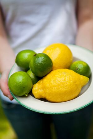 Fresh and delicious lemon and lime on a plate, held by womans hands