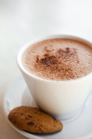 Delicious hot chocolate in a mug with a chocolate biscuit Stock Photo
