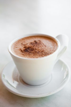 chocolate caliente: Delicioso chocolate caliente en una taza blanca  Foto de archivo