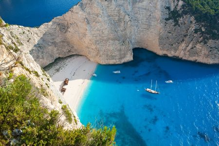 Shipwreck beach with beautiful white sand and turquoise water in Zakynthos, Greece