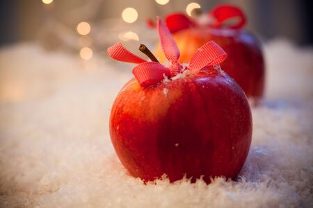 Red delicious Christmas apples resting in snow Stock Photo