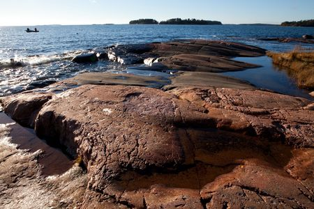 Rocky seashore in Helsinki, Finland. Beautiful autumn day. Stock Photo