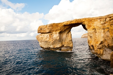rock arch: Natural rock arch called the Azure Window, island of Gozo, Malta Stock Photo