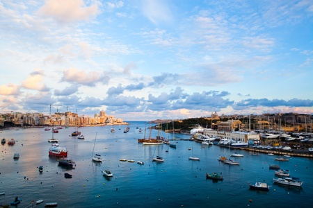 Beautiful sunset in winter, Sliema harbor, Malta